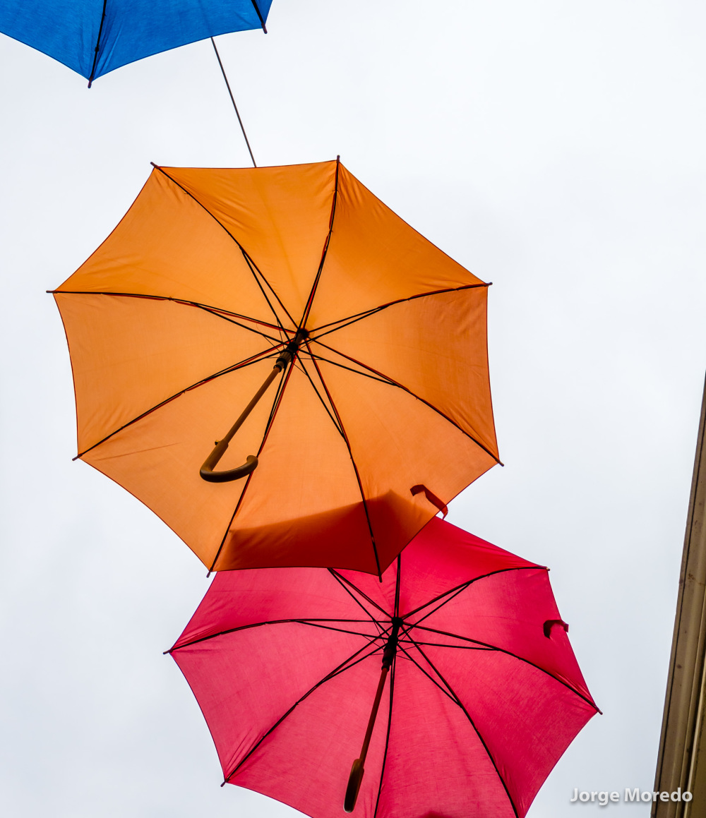 Orange umbrella in the air