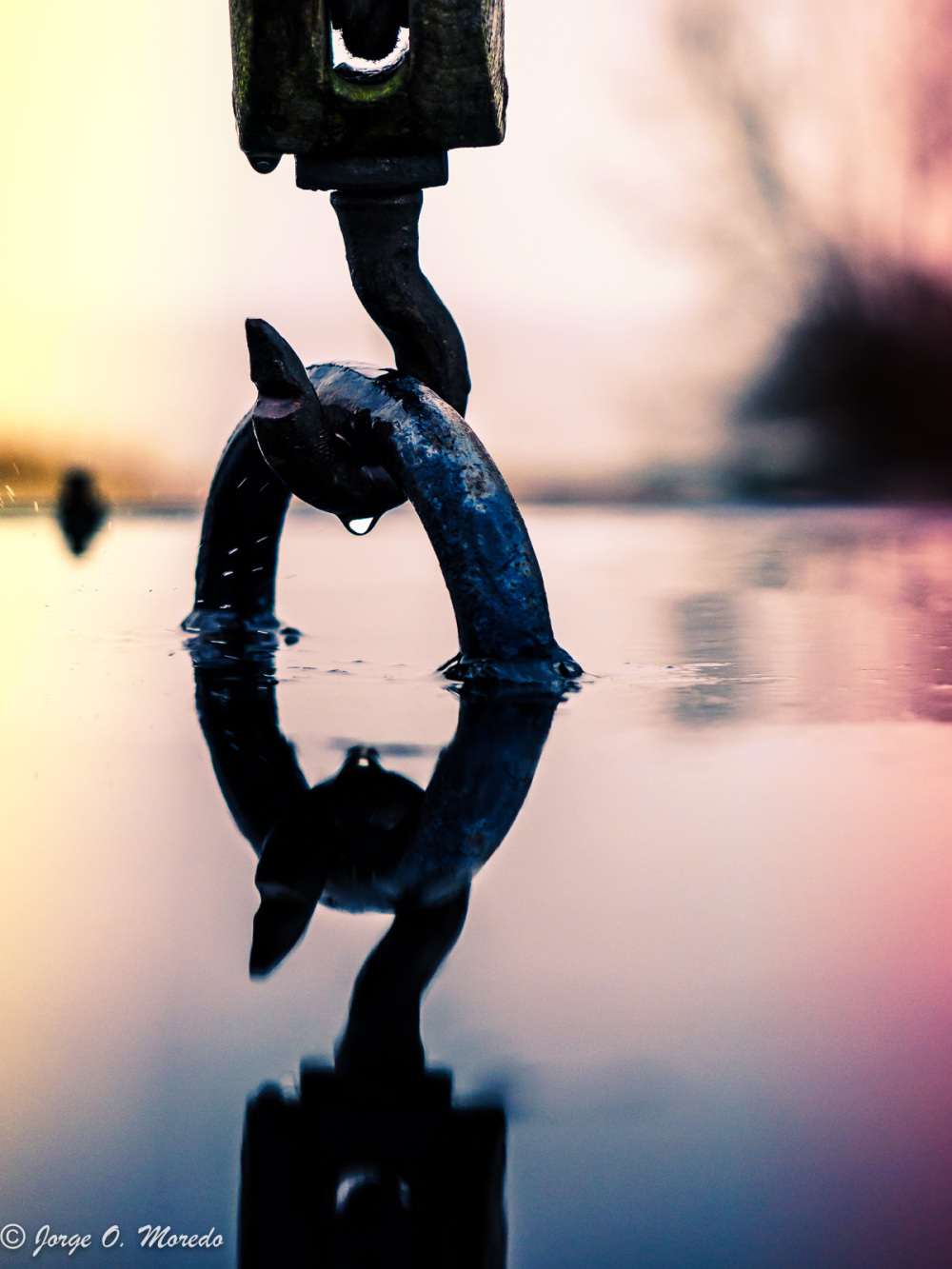 Reflection of hook on water