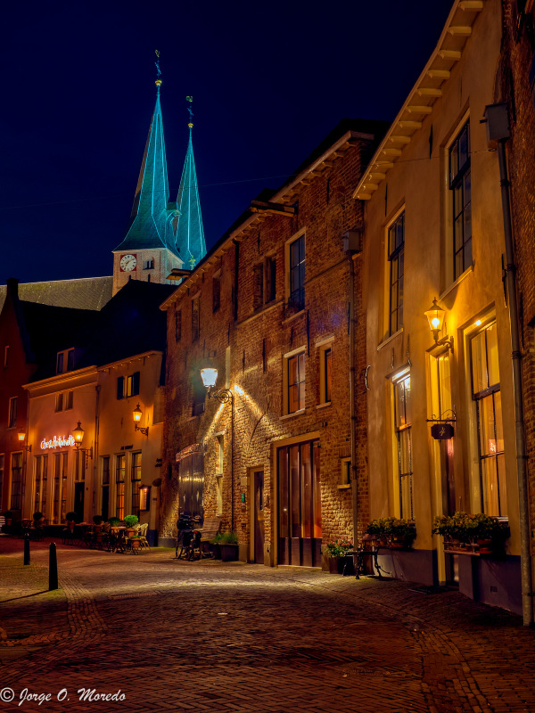 Street at night in Deventer