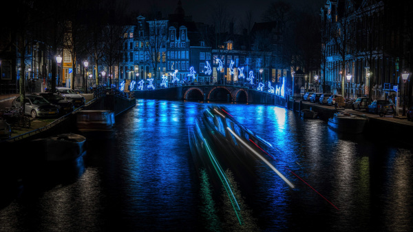 Canal boat in Herengracht Amsterdam