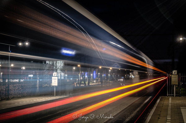 Fast train at night