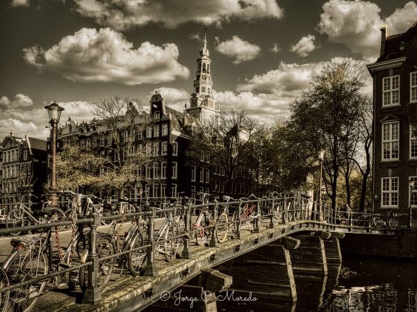 Amsterdam bridge with bicycles