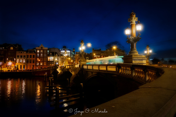 Blue bridge in Amsterdam