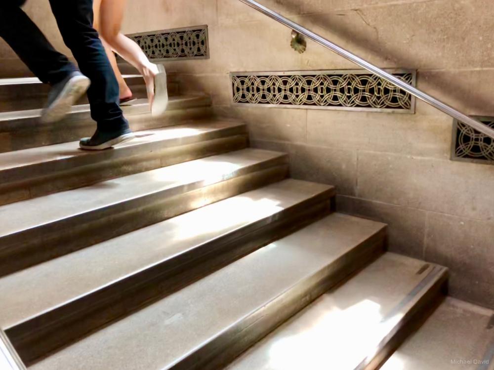 Stepping lightly.