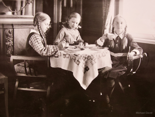 The girls enjoying their tea