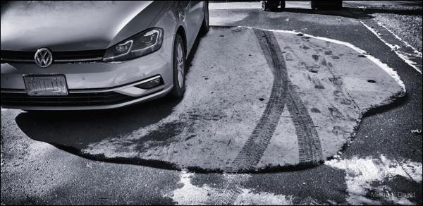A snow shadow