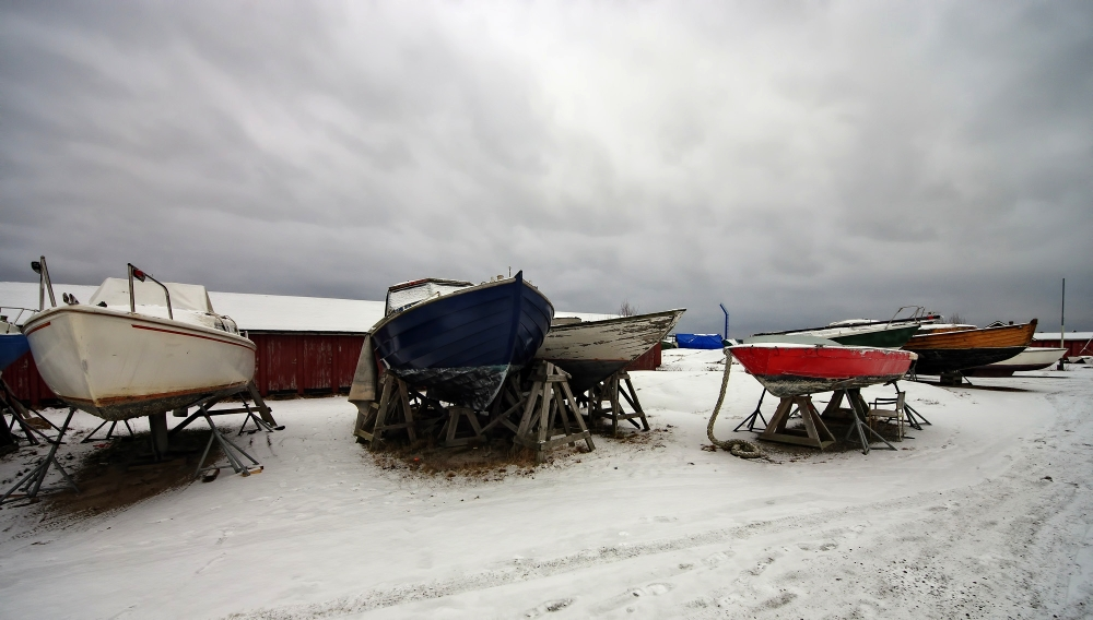 Boats in snow
