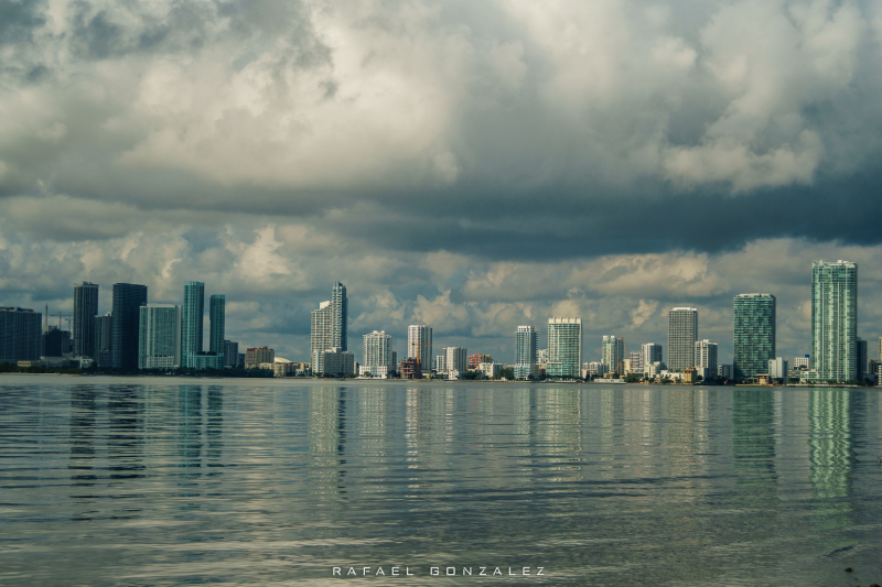 Early morning cloudy view of the city of Miami
