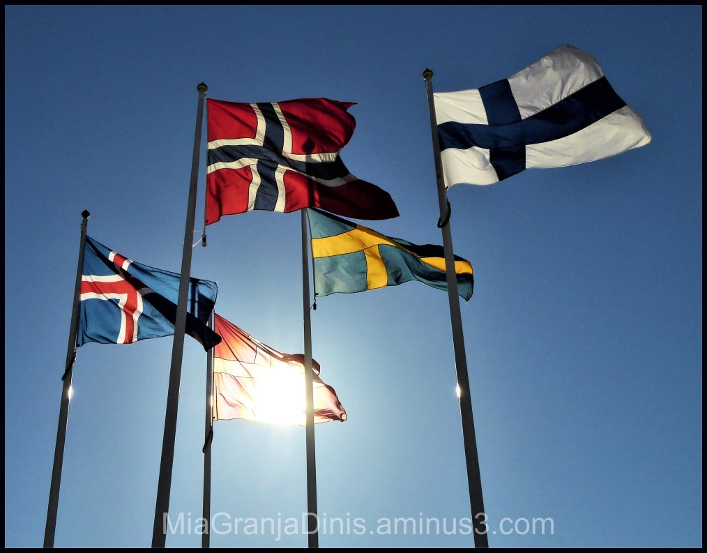 Nordic Flags in the sunshine