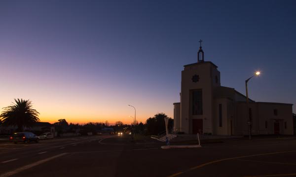 St Joseph's Te Aroha at dusk