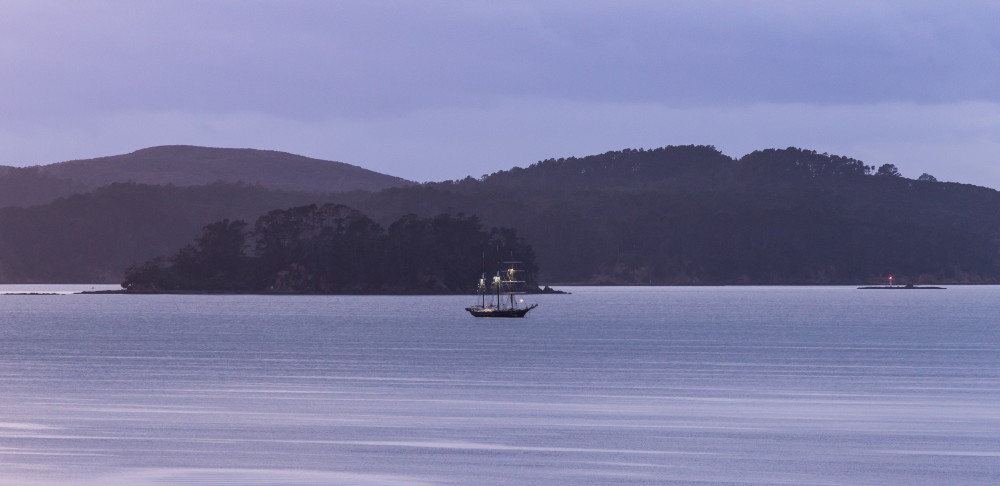 Spirit of New Zealand moored in the Bay