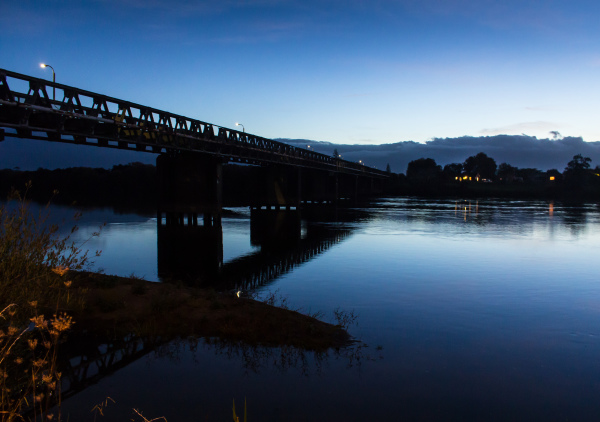 The rail bridge over the Waikato River at Huntly