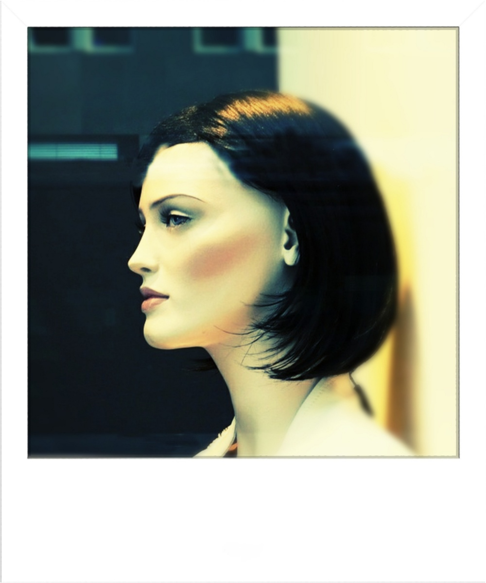 headshot of mannequin, polaroid