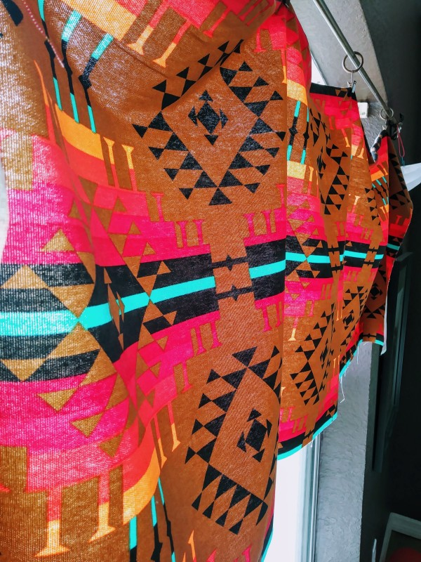 fabric curtain in southwest geometric red brown