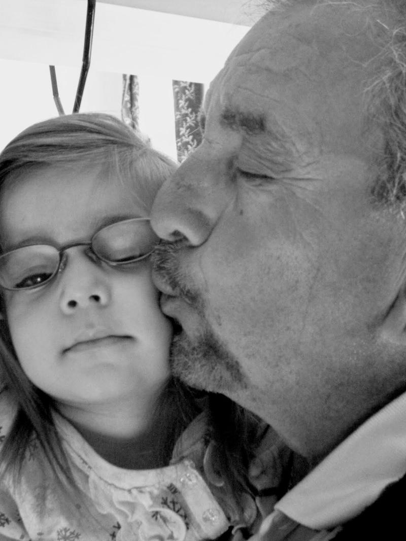 girl grandpa kiss glasses black and white