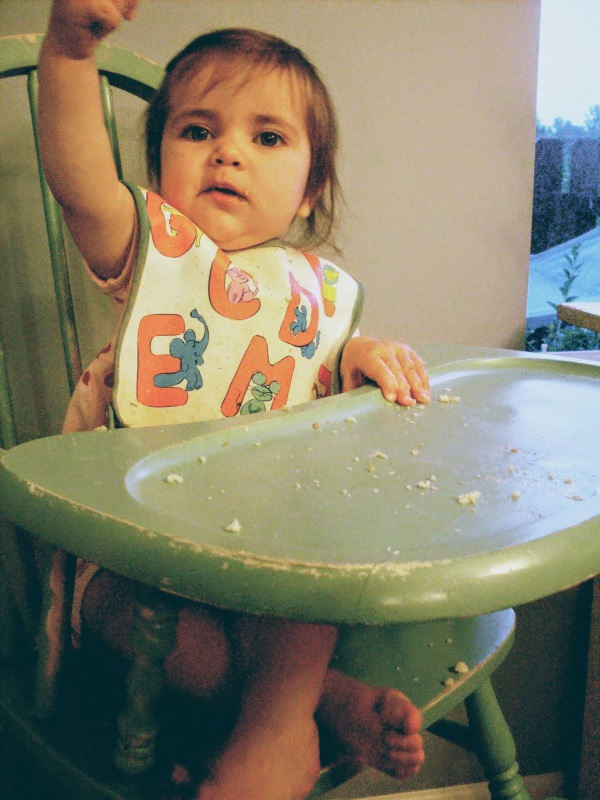 baby in highchair ordering the gabagool