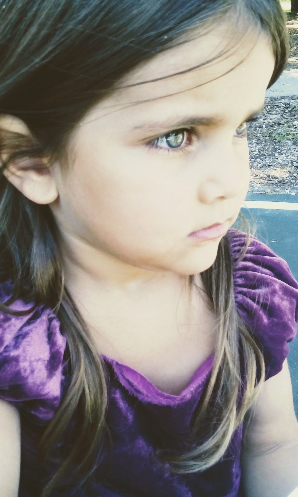 girl purple dress brown eyes clear eyes