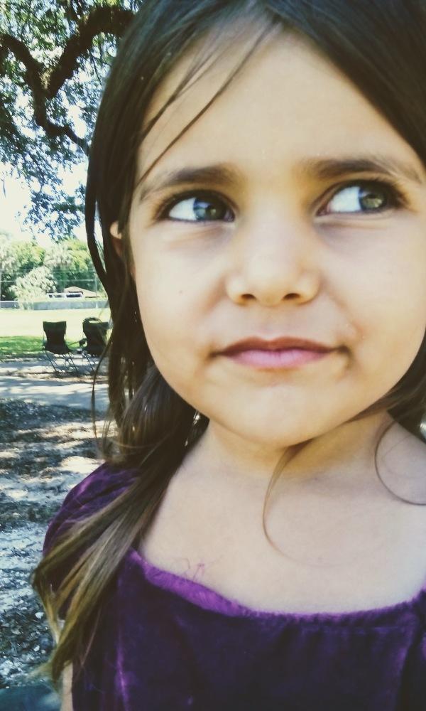 girl purple dress smirk green eyes