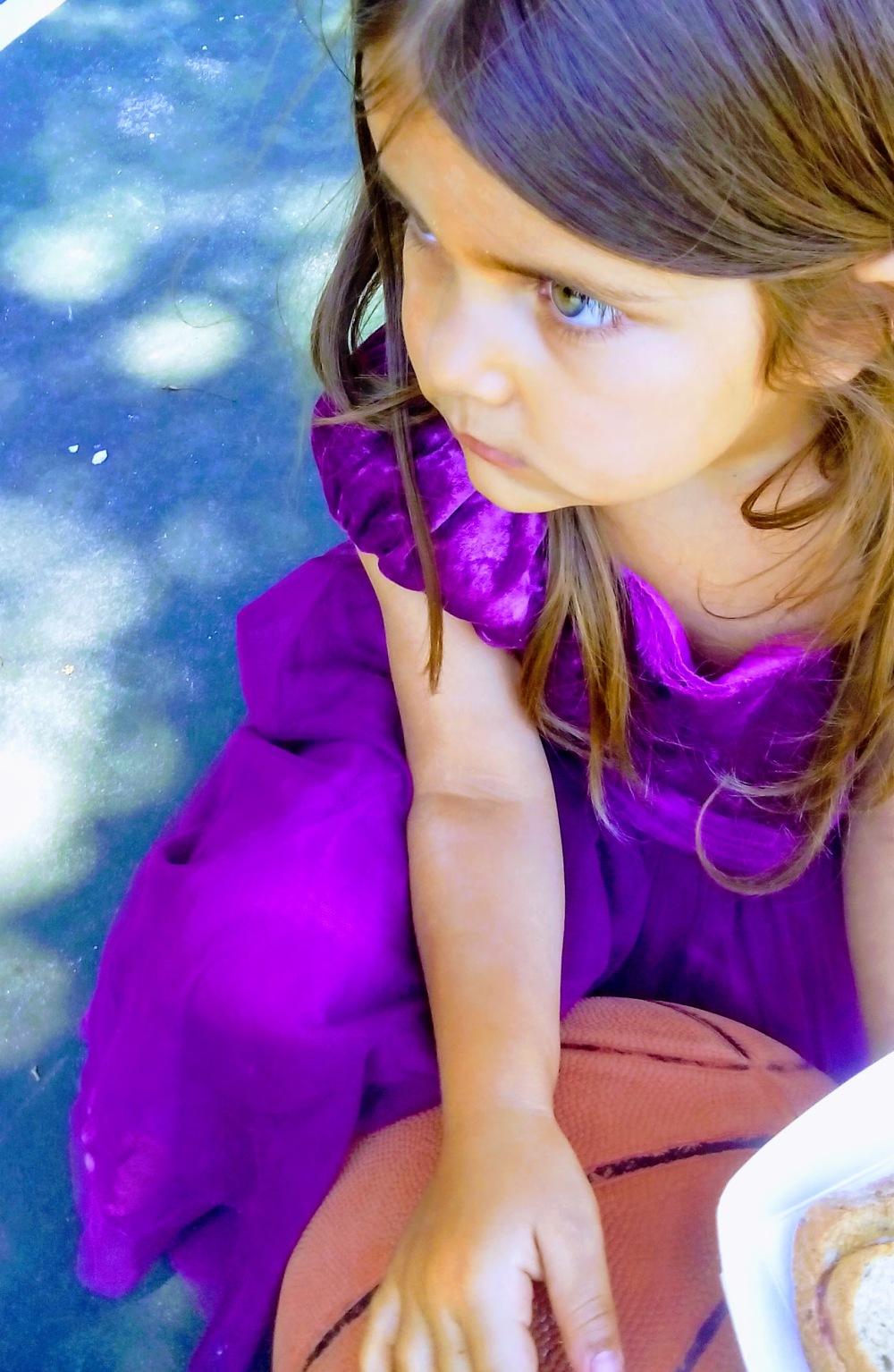 girl purple brown