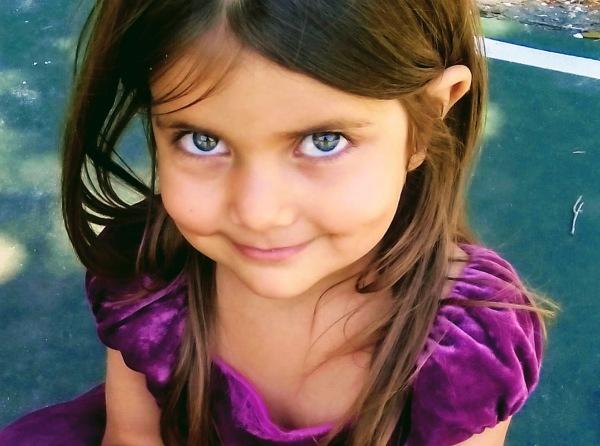 girl smile purple dress