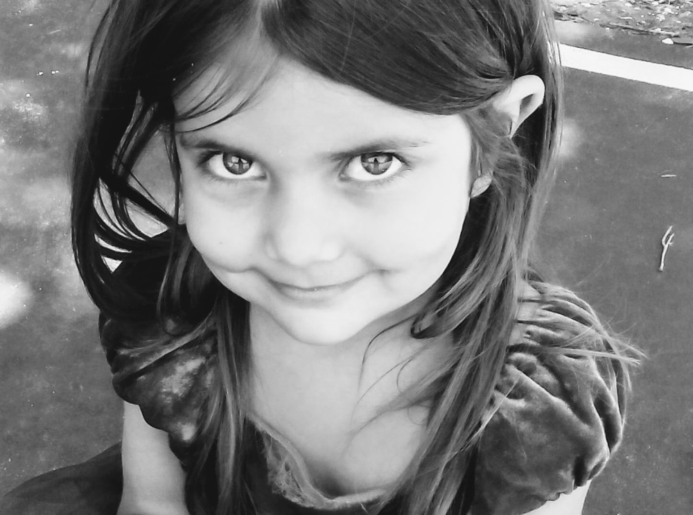 girl with smile beautiful eyes black and white