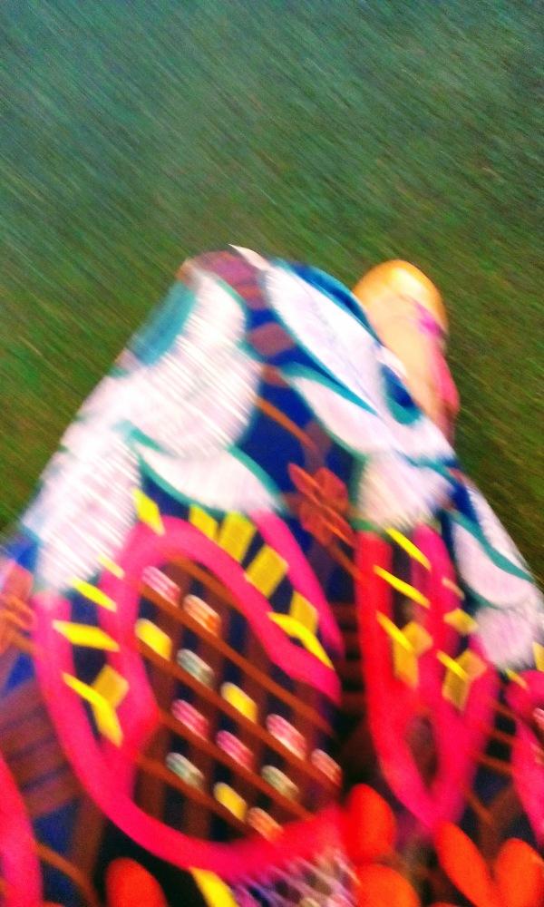 multi-colored geometric pattern fabric blurry