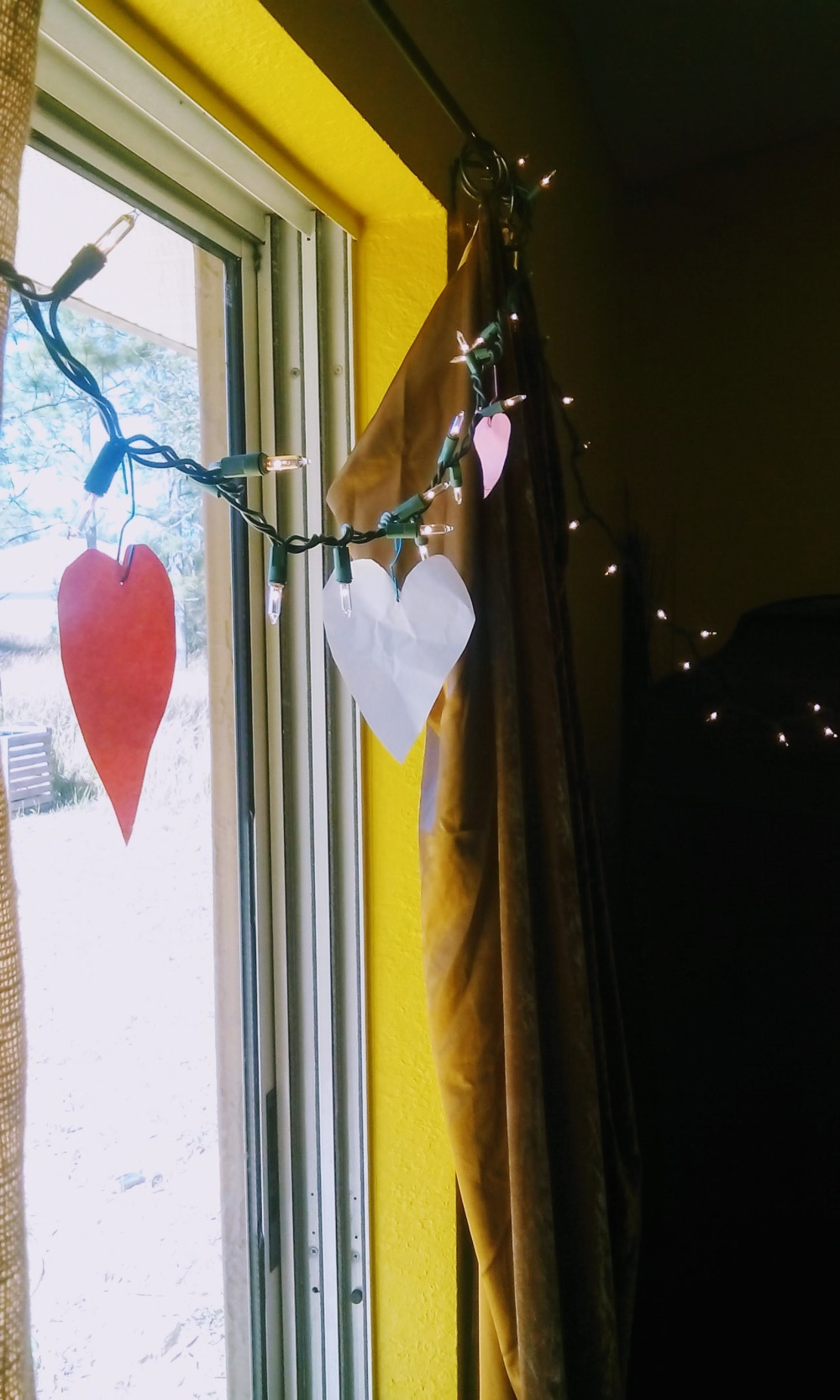 paper hearts with lights
