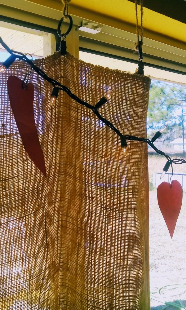 paper hearts, burlap, and lights