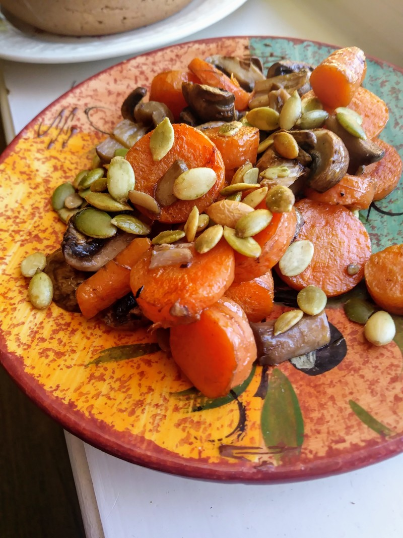 carrots mushrooms pepitas