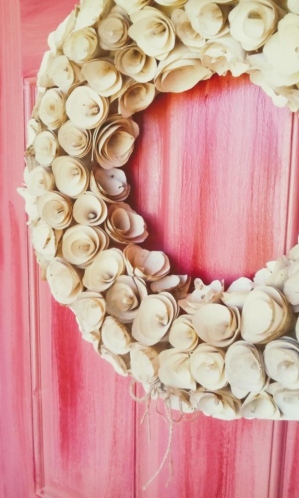 wood wreath door pink