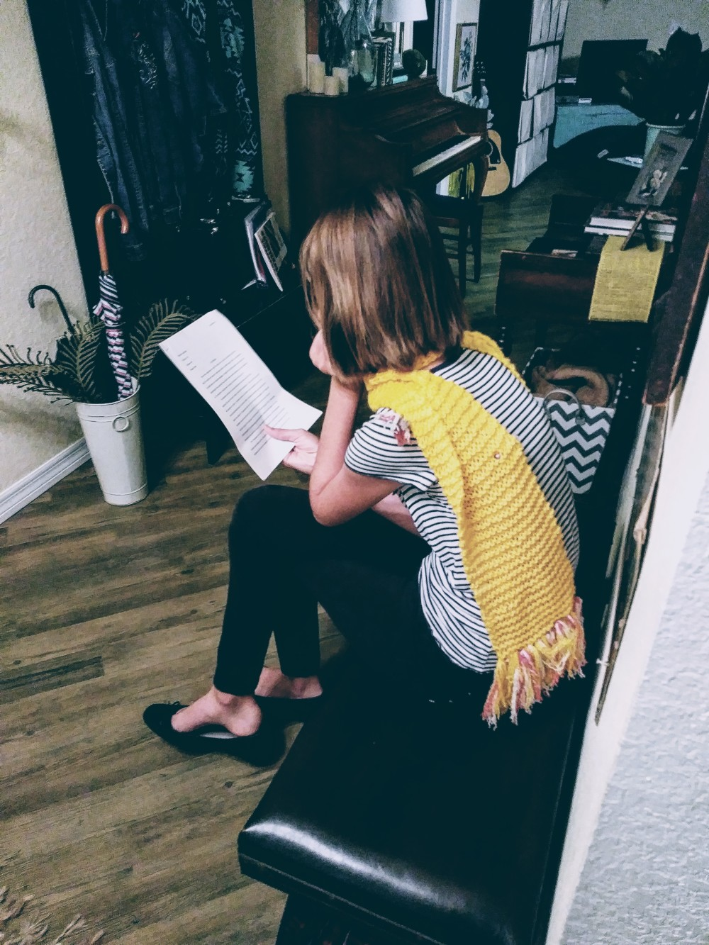 girl yellow scarf