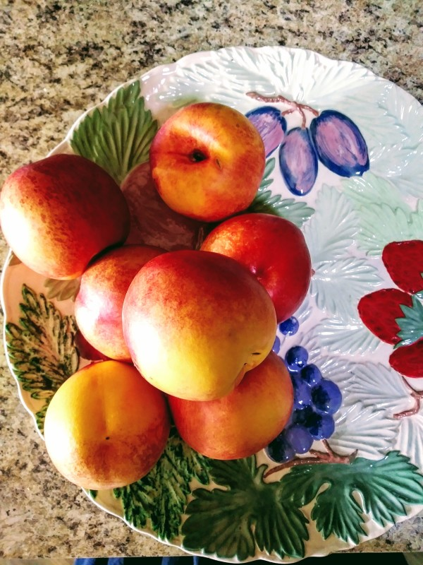 nectarines on vintage platter