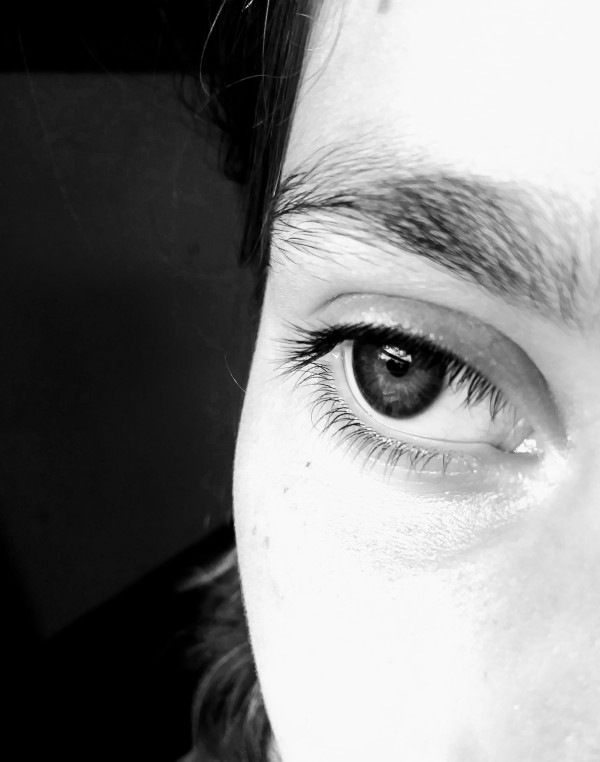 black and white eye