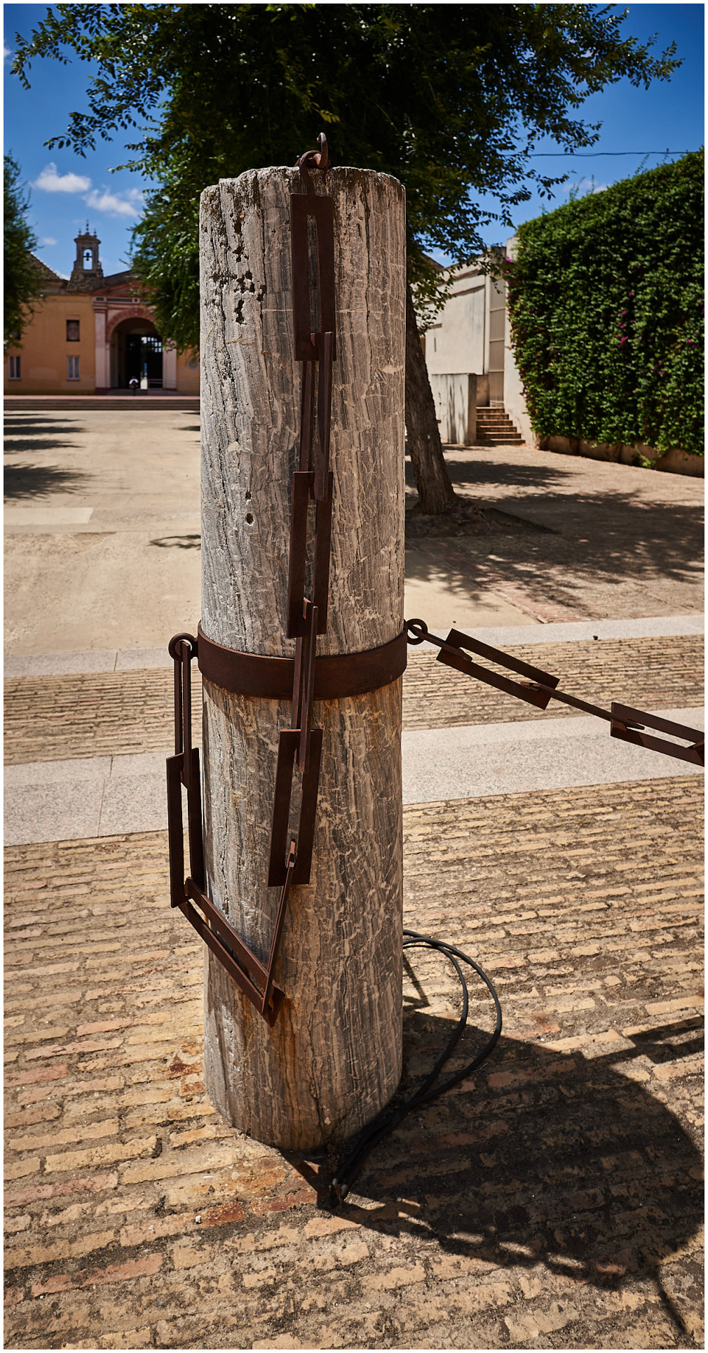 a wooden post