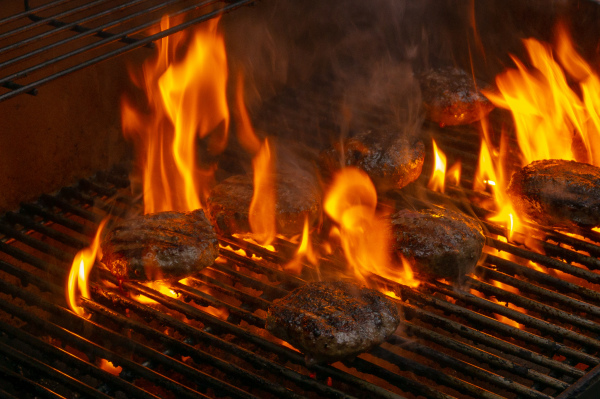 Grilling Burgers on Fourth of July
