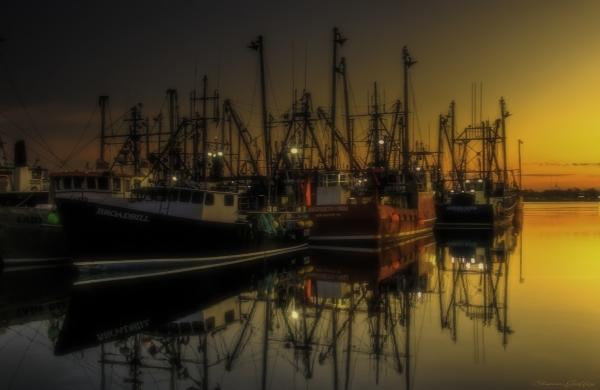 Sunrise. New Bedford Fish Dock.