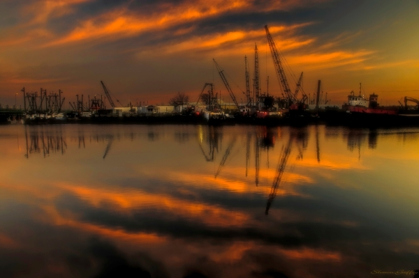 Dawn. New Bedford Maintenance Dock. Massachusetts