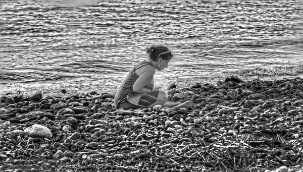 Looking at crabs on the beach.