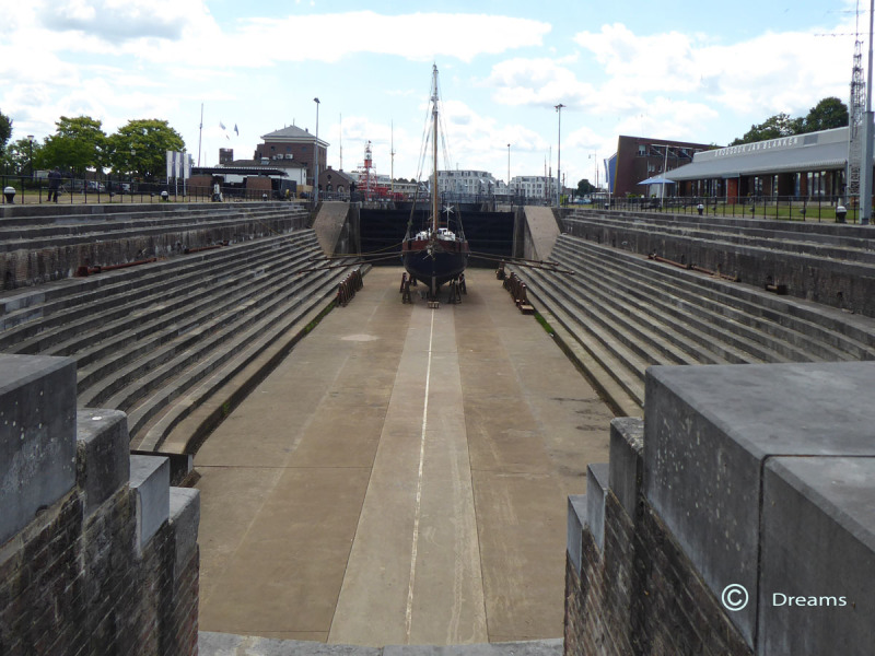 The rear part of the dock.