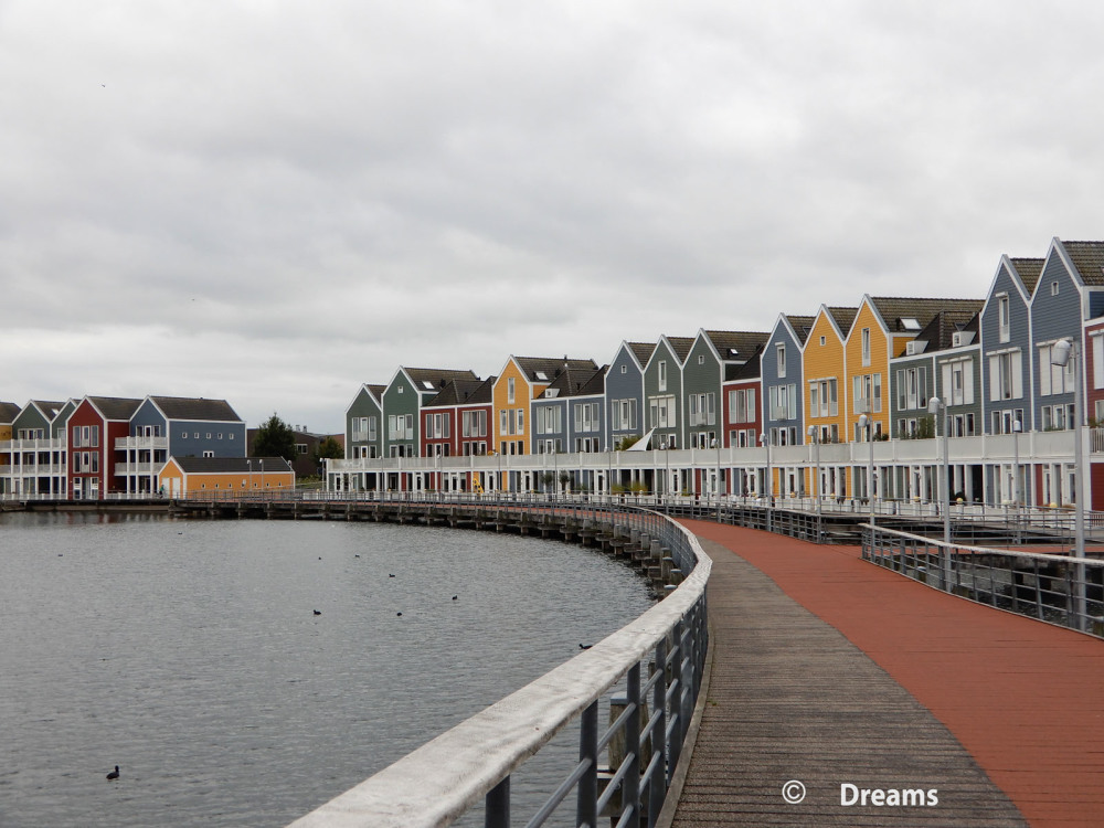 The wooden houses in Houten .