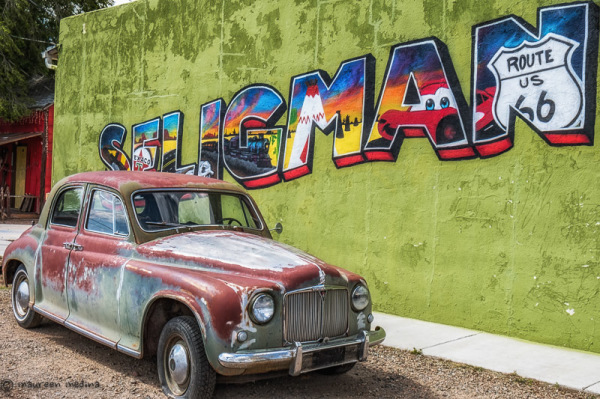Old Car by Seligman Arizona Route 66 Wail Sign