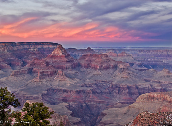 Colorful sunset at Navajo Point  Grand Canyon