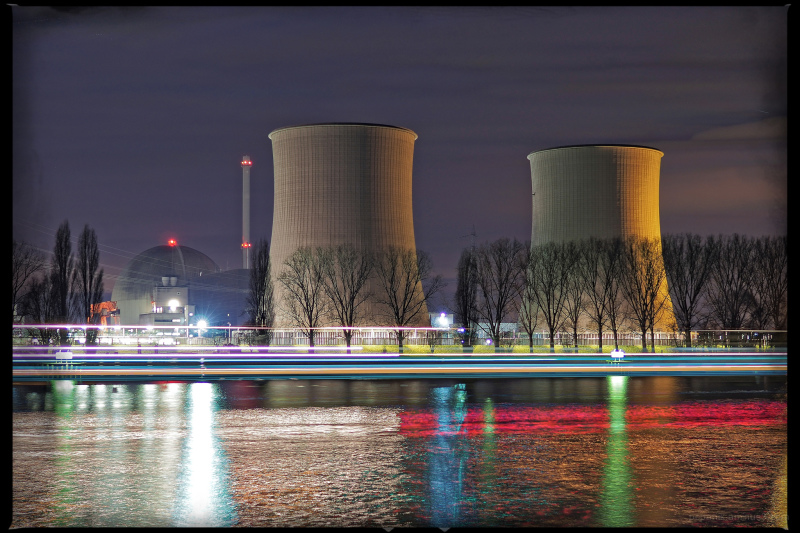 Nuclear Power Plant Biblis at night