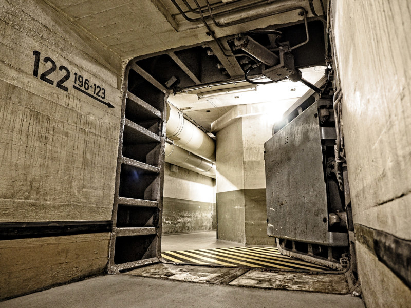A big heavy steeldoor inside a bunker
