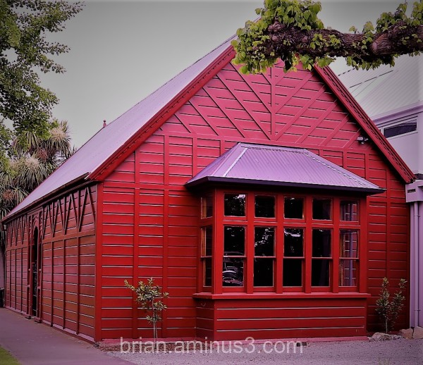 wooden house all in red