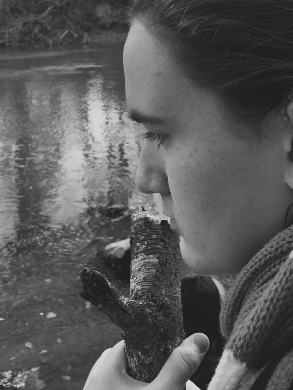Portrait daughter river black and white