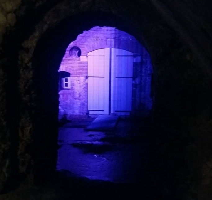 Nightview on fortress doors