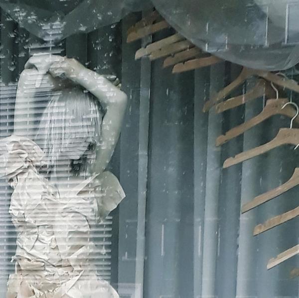 Shop window with pop-up art