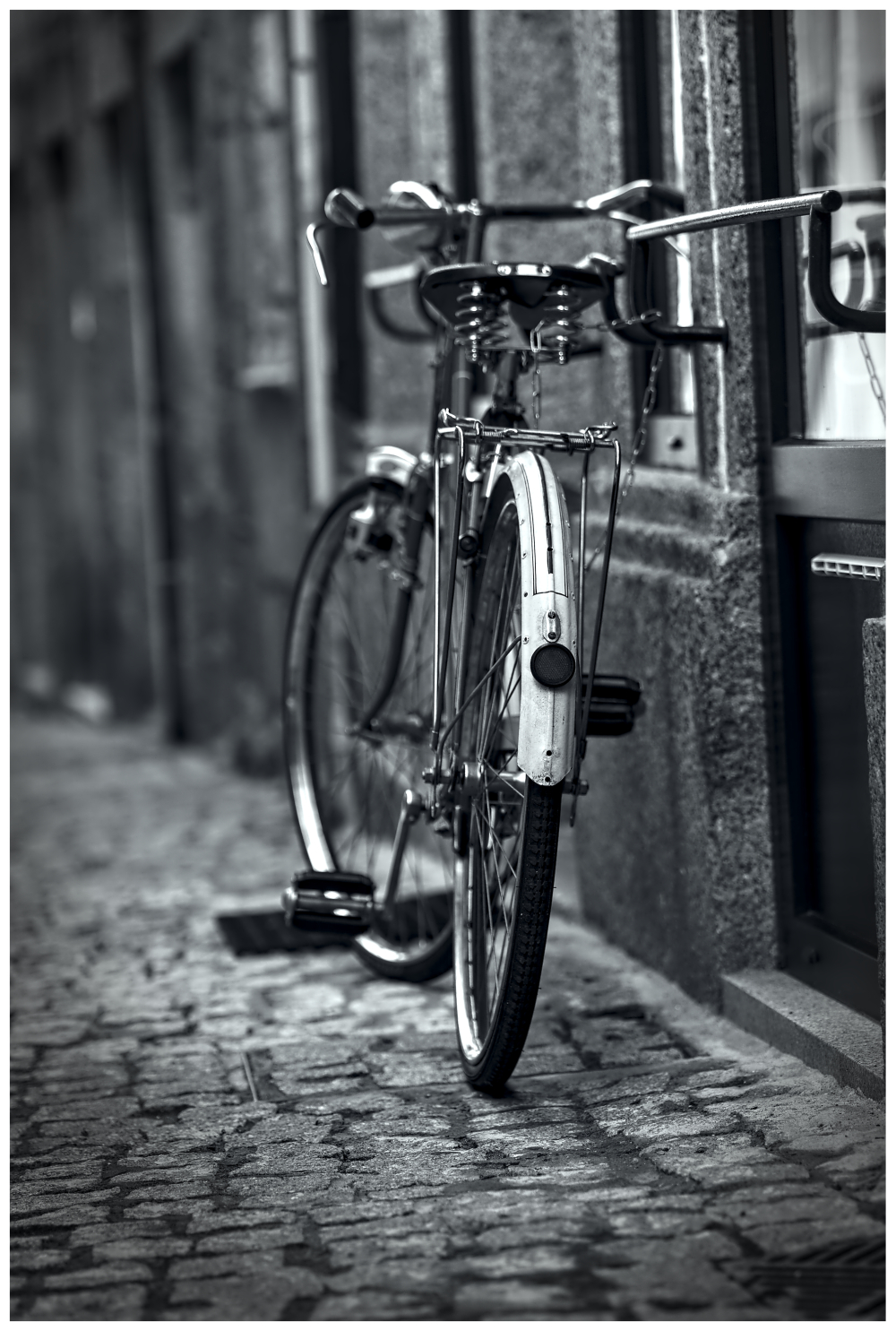 black white old bicycle Street Photography Guarda