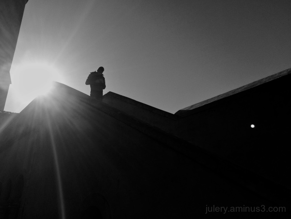 A silhouette of man in Lisbon